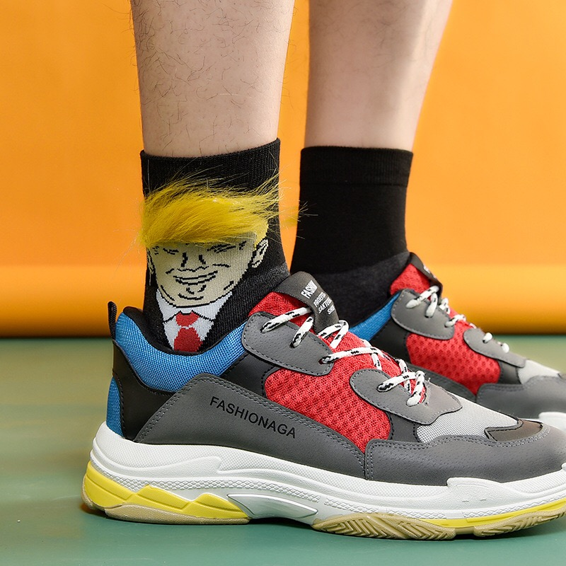 President Donald Trump Unisex Socks Funny Printed Adult Casual Crew Socks 3D Fake Hair Crew Socks Great Offer Hip Hop Skateboard