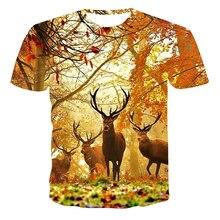 Camiseta con ciervo 3d impresión Animal camisetas al aire libre de los hombres de caza, de deporte Camiseta popular de caza de c