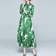 Long Sleeve Maxi Dresses For Women Tropical Beach Vintage Chiffon Print Holiday Big Swing Dress Boho Casual Plus Size Dress 2021