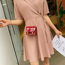 2019 wheat panicle sewing mini square bag lipstick lacquer skin / bright flash single shoulder oblique span woman bag(China)