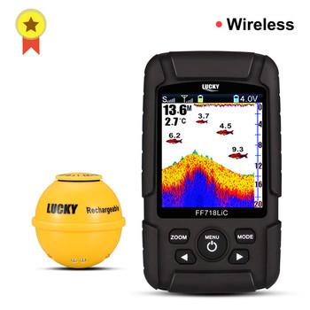 Lucky FF718LiC-WLA bezprzewodowy przenośny lokalizator ryb 45 M 147 stóp głębokość sonaru echosonda echolot echo sondeur głębiej tanie i dobre opinie LUCKYLAKER Dc 10 v-18 v english Bezprzewodowy 125 Khz 0 6-73 metry 90 degree Dc 10-18 v 2 8 inch LCD On Off White LED