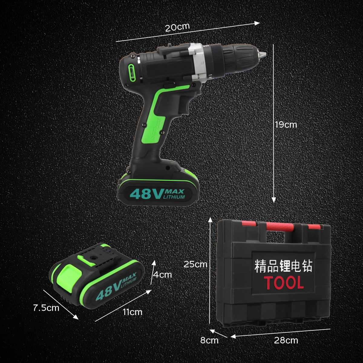 48 В аккумуляторная электрическая дрель молоток гаечный ключ двойная регулировка скорости светодиодный фонарь Плотницкие Инструменты Отвертка электроинструменты