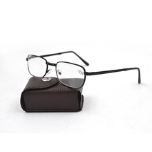 New Arrival Black Metal Folding Reading Glasses With Case Foldable Eyeglasses Free shipping