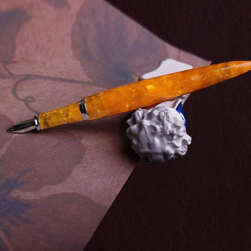 FULIWEN LOVE Orange Resin Fountain Pen Ink Pen Fine Nib Converter Filler Stationery Office School Supplies Penna Stilografica