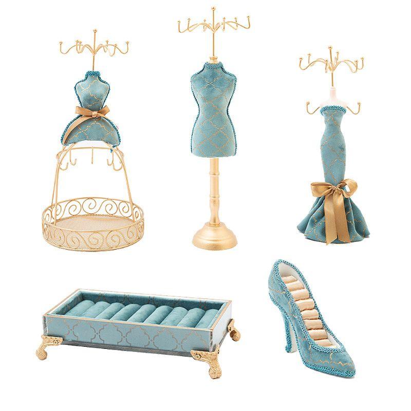 5Pcs Sky Blue Shoes Ring Holder Princess Jewelry Stand Dress Fashionable Human Model High Heels Rack Jewelry Display