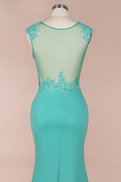New Arrival Green Lace Mermaid Prom Dresses Long Sexy Illusion Sleevess Evening Party Dresses Vestido de Festa 6