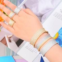 SisCathy Hot Trendy Zircon CZ Wedding Jewelry Sets For Women Luxury Dubai Bridal Bangle Ring Sets aretes de mujer modernos 2019 цены