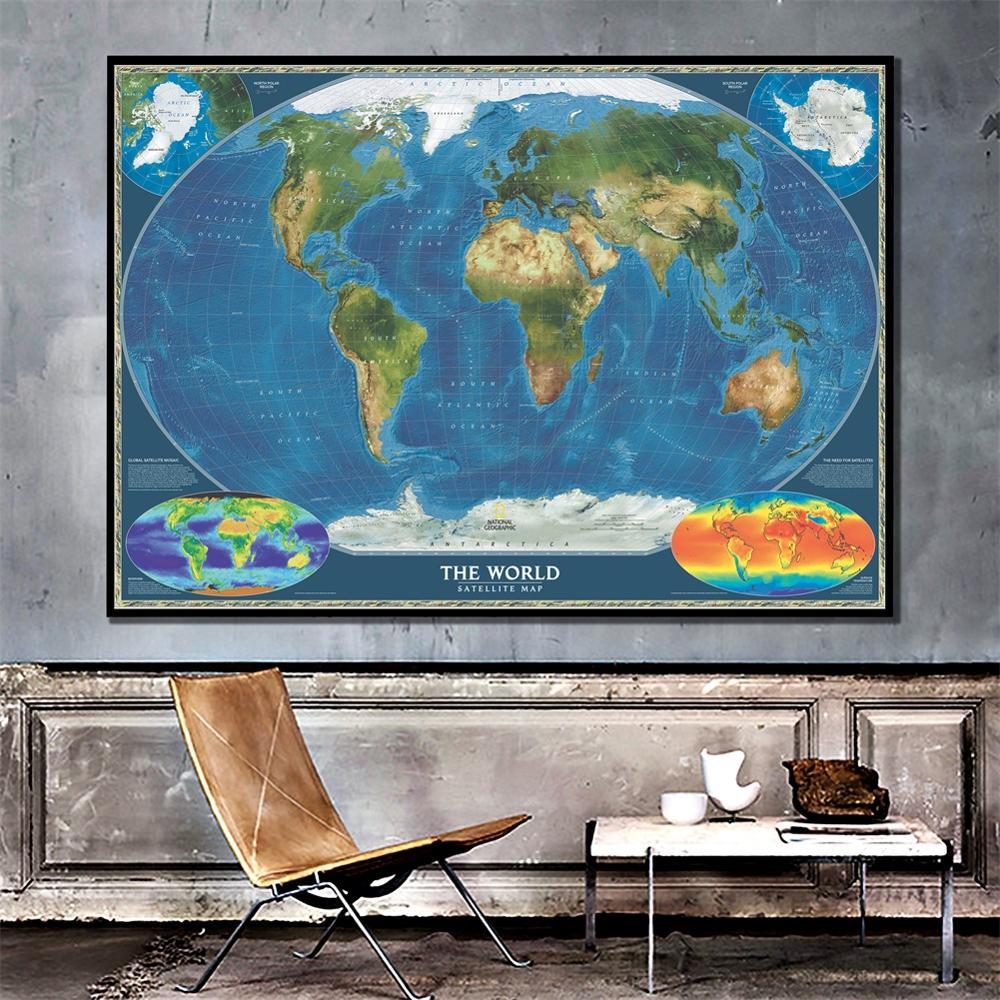 The World Satellite Map With Biosphere Map And Earth Surface Temperature Home Wall Canvas Painting For Wall Decor