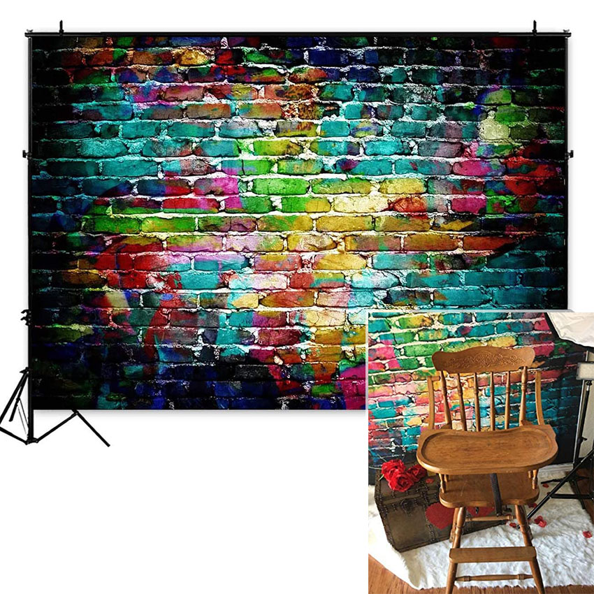 Colorful Graffiti Brick Wall Photography Backdrops Adults Children Portrait Background Party Decoration Photoshoot Photo Studio