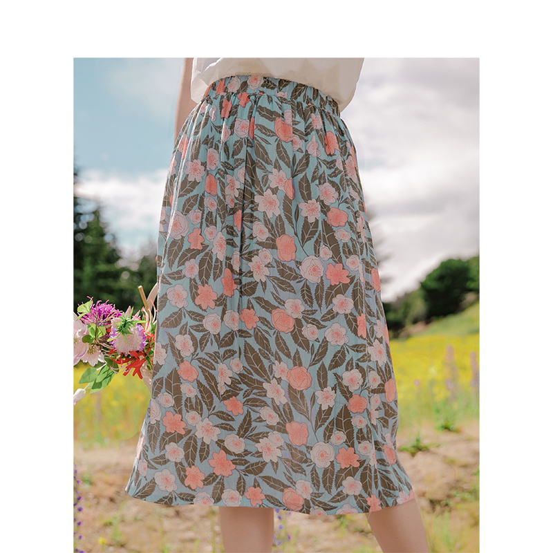 INMAN 2020 Summer New Arrival Viscose Elastic Waist Retro Printed Fold All-natch Literary Pure And Fresh Skirt