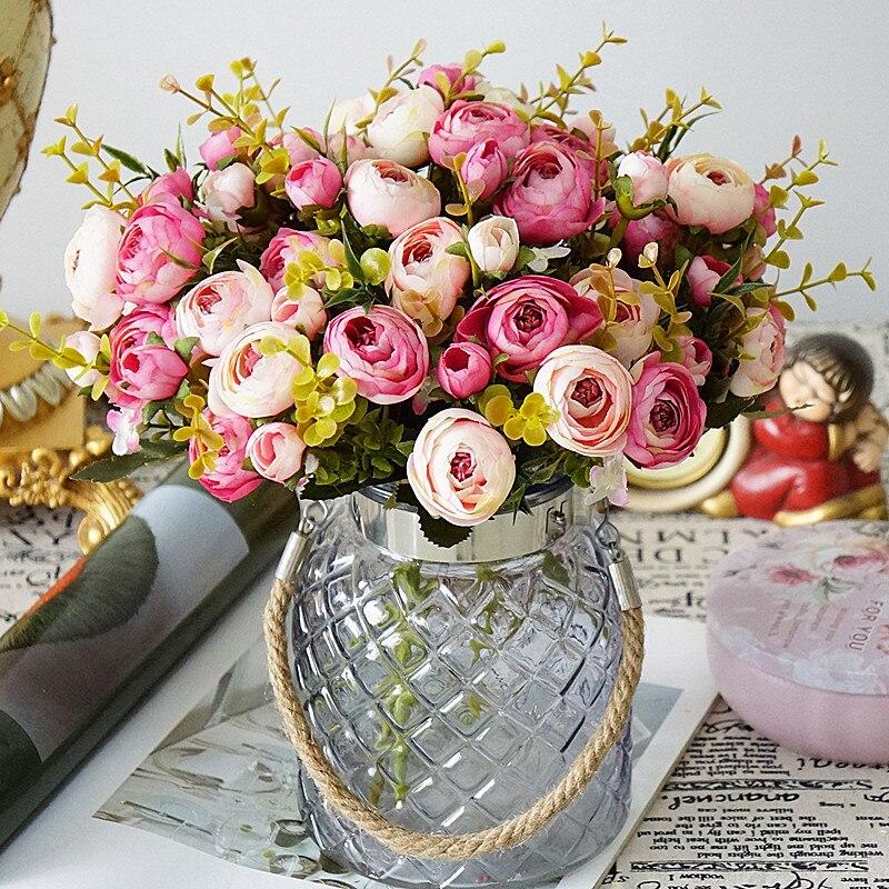 10Pcs Silk camellia Artificial Fake Flower Heads Wedding Bouquet DIY Party Decor