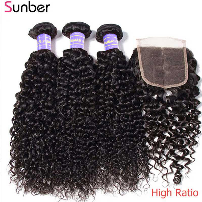 Sunber Brazilian Kinky Curly Hair Bundles With Closure Hair 4x4 Closure High Ratio Remy Hair Bundles With Closure Hair