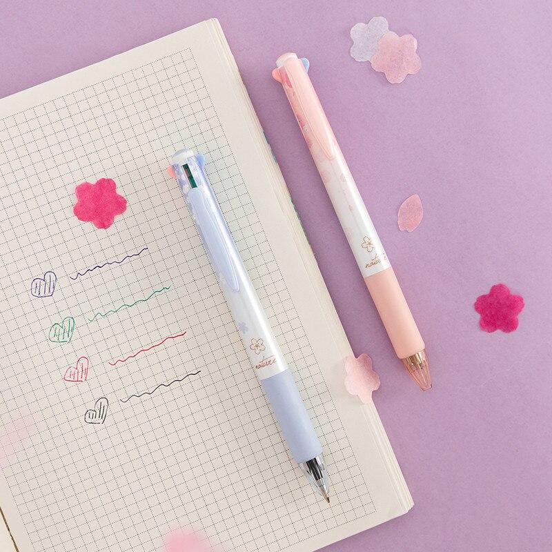 MINKYS 0,7 мм Sakura 4 цвета разноцветная шариковая ручка Сделай Сам Рисунок граффити Шариковая ручка Kawaii Школа Офис Канцтовары