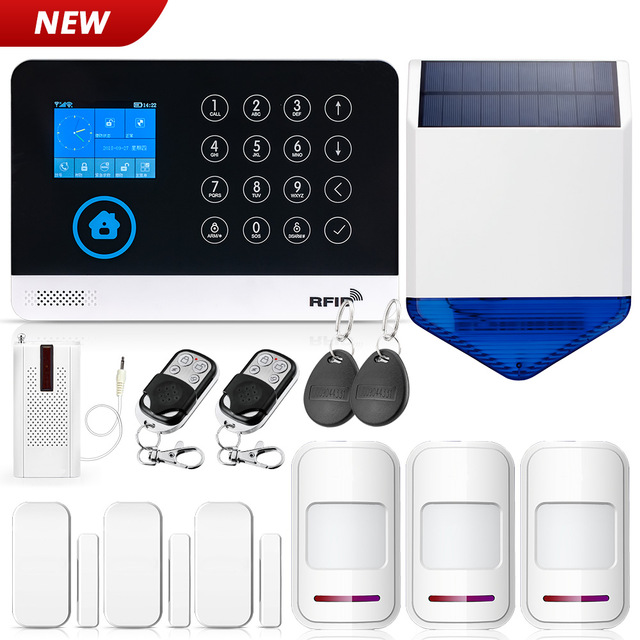 WG11 2.4 Inch TFT Screen WIFI GSM Wireless Home Security Alarm System Motion Detector APP Control Solar Siren Smoke Detector Kit-in Alarm System Kits from Security & Protection