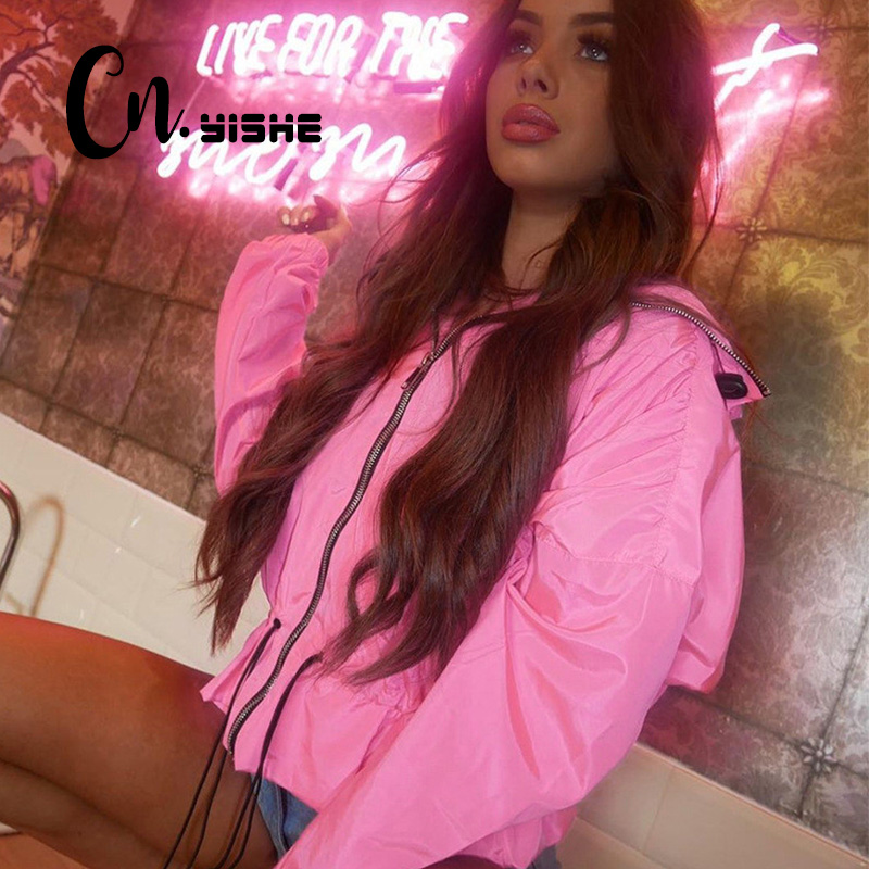 CNYISHE 2019 Autumn Sweet Pink Coats Jackets Fashion Long Sleeve Regular Zipper Up Outerwear Casual Women Jackets Mujer Female