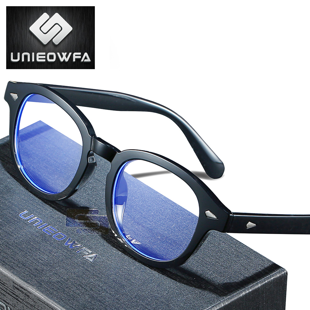 UNIEOWFA Retro Prescription Glasses Men Women Optical Myopia Anti Blue Light Eyeglasses Photochromic Progressive Eyewear Vintage