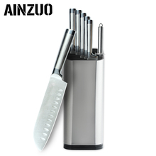 AINZUO Kitchen Knife Set Stainless Steel Accessories Fruit Paring Utility Santoku Chef Slicing Bread Sharpener