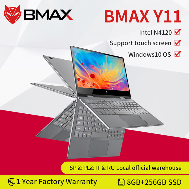 BMAX Y11 Laptop 11.6 Inch Quad Core Intel N4120 1920*1080 IPS Screen 8GB LPDDR4 RAM 256GB SSD ROM Notebook Windows10