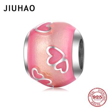 Romántico enmasculinos de color rosa, corazón de Plata de Ley 925, cuentas redondas DIY a la moda, compatible con pulsera de abalorios europeos originales, fabricación de joyas