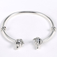 New 925 Sterling Silver MOMENTS Open Bangle With Minnie & Mickey Caps Bangle Bracelet Fit Bead Charm Diy Fine Jewelry