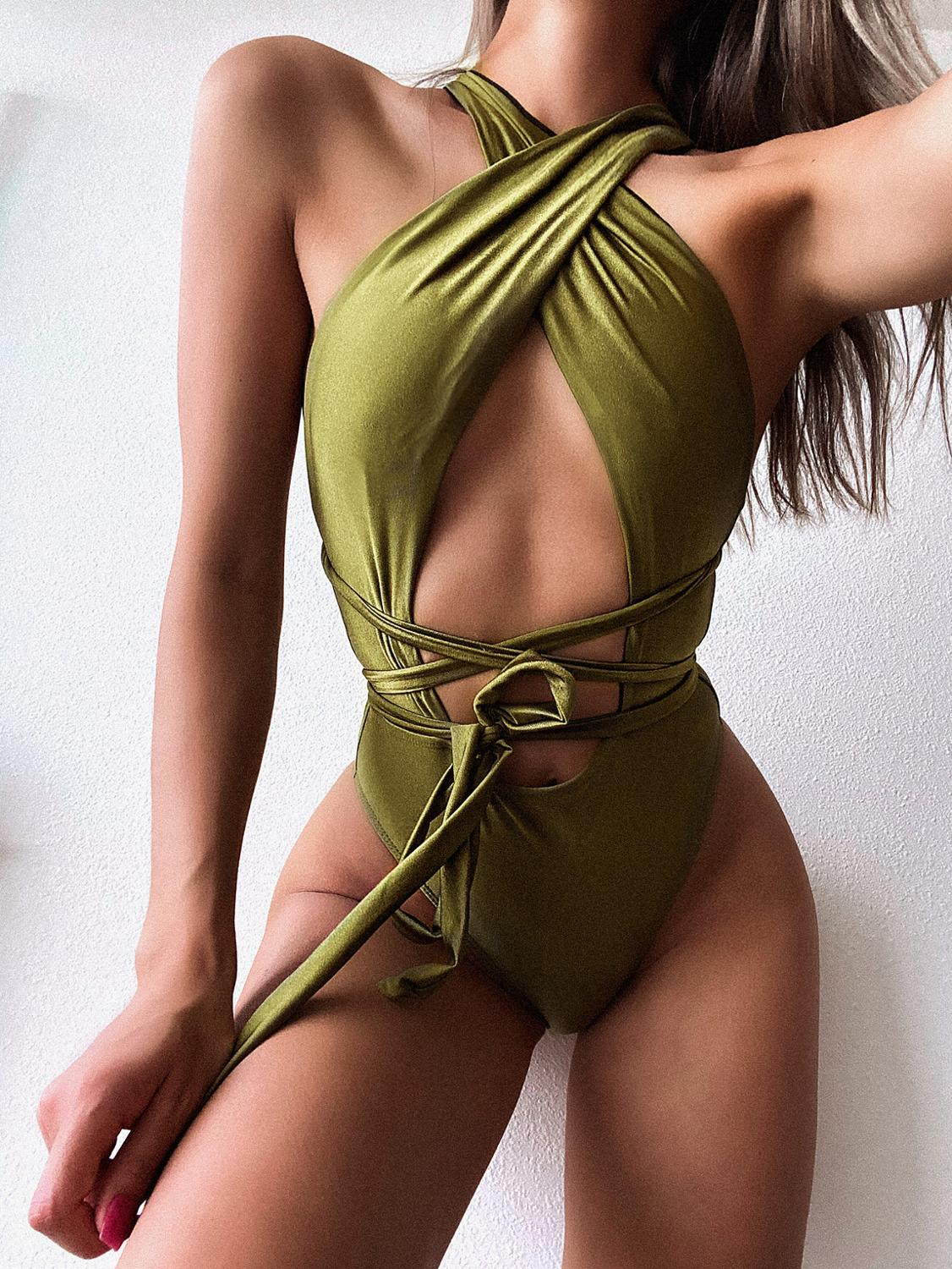 2020 New One Piece Swimsuit Sexy Bandage Swimwear Women Bathing Suit Beach Backless Monokini Swimsuit Female 1