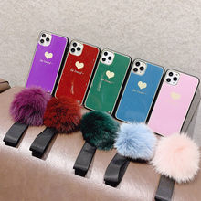 Mewah Lucu 3D Fox Fur Ball Cinta Hati Glitter Bling Phone Case untuk iPhone 11 Pro XS Max XR X 6S 6 7 8 PLUS Soft Back Cover Case(China)