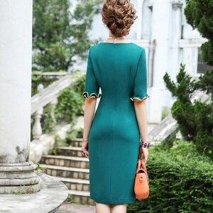 Image 2 - 2019 yeni sonbahar Kadınlar Lüks Tasarım Ünlüler Yay Parti Elbise 3xl Rahat tarzı Ofis Bayan elbise Artı Boyutu Kalem iş elbiseler