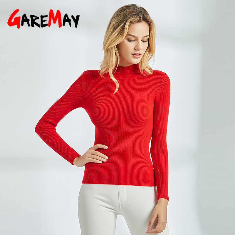 GareMay 2019 Autumn Winter women sweater female red pink Long Sleeve Casual Basic Jumper Knitted ladies sweaters for Women girls