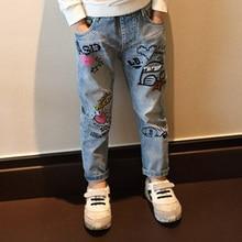 Осень-зима каракули джинсовые штаны джинсы для детей, джинсы дизайн осень Trausers граффити джинсы для девочек