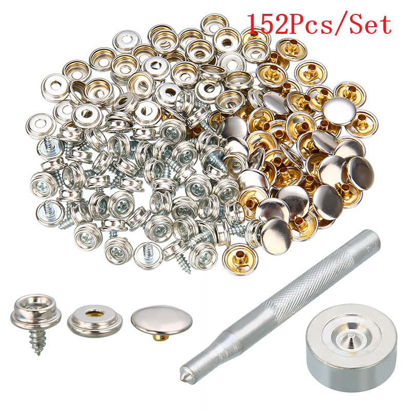 152Pcs 10mm Snap Fastener Stainless Steel Canvas Screw Press Stud Boat Cover