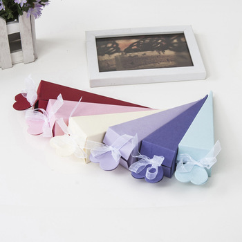 100pcs Cute Multicolor Cone Shape Wedding Candy Box Wedding Favor and Gifts Marriage Cajas Baby Shower Paper Gift Box Packaging