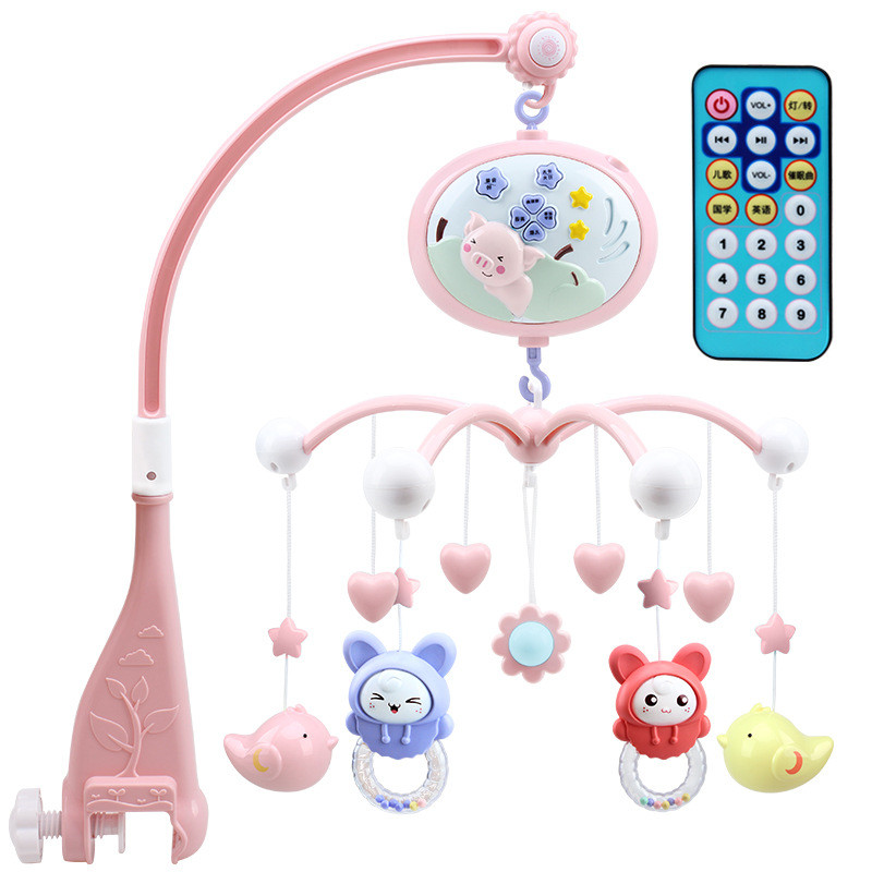 Baby Crib Toy 0-12 Months Newborn Musical Box Projection Baby Bed Bell With Animal Rattles Early Learning Kids Educational Toys