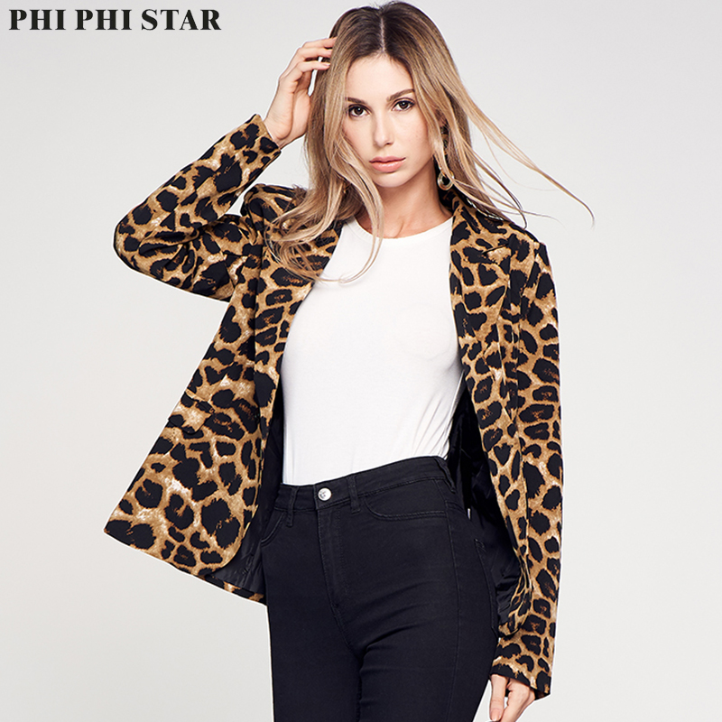 Phi Phi Star 2019 Spring Autumn Women Short Suit Coat Jacket Fashion Leopard Coat Tops Long Sleeve Jacket Outwear Clothes Female