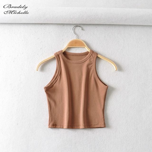 BRADELY MICHELLE 2020 Summer Women's party cotton Crop Tops sexy Elastic Solid sleeveless o-neck Short Tank Top Bar 3