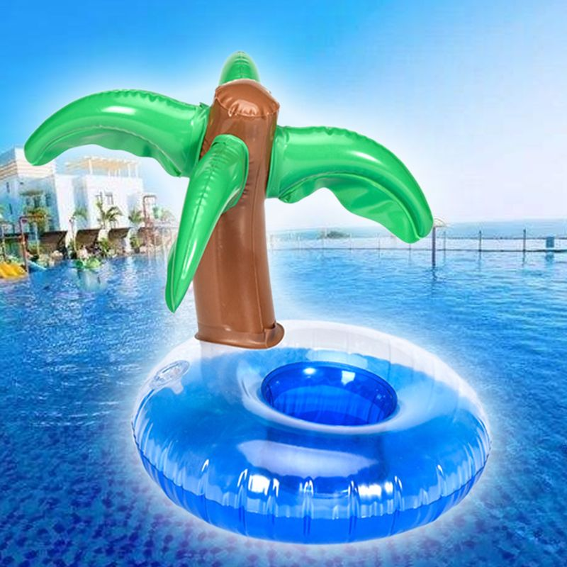 Coconut Tree Shape Cup Holder Floating Inflatable Coaster Milk Tea Seat Boys Girls Water Pool Toy Beach Party  P31B