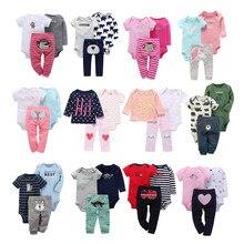 Conjunto de roupas para bebês, conjunto de 3 peças, 3 peças, macacão + calça de desenho de unicórnio, letras, recém nascidos, 2020 roupas de bebê, impressão