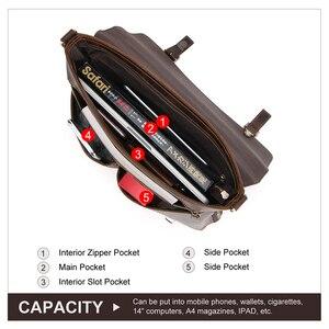 Image 4 - CONTACTS мужской портфель, сумка Crazy Horse, кожаная сумка через плечо, известный бренд, деловая офисная сумка для ноутбука 14 дюймов