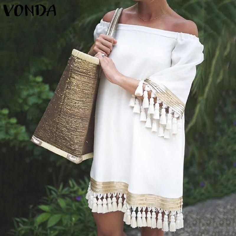 2020 VONDA Summer Sundress Women Sexy Off Shoulder Party Dress Female Vintage Mini Dress Holiday Casual Plus Size Vestidos 5XL