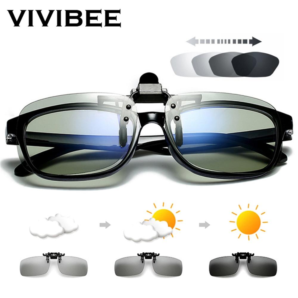 VIVIBEE Polarized Square Flip Up Clip On Sunglasses Men Photochromic Polarised Women Sun Glasses For Night Driving Lens