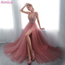 Вечернее платье с v-образным вырезом и бусинами, вечернее платье со шнуровкой на спине с разрезом, вечернее платье, длинное платье для выпускного вечера, Robe De Soiree