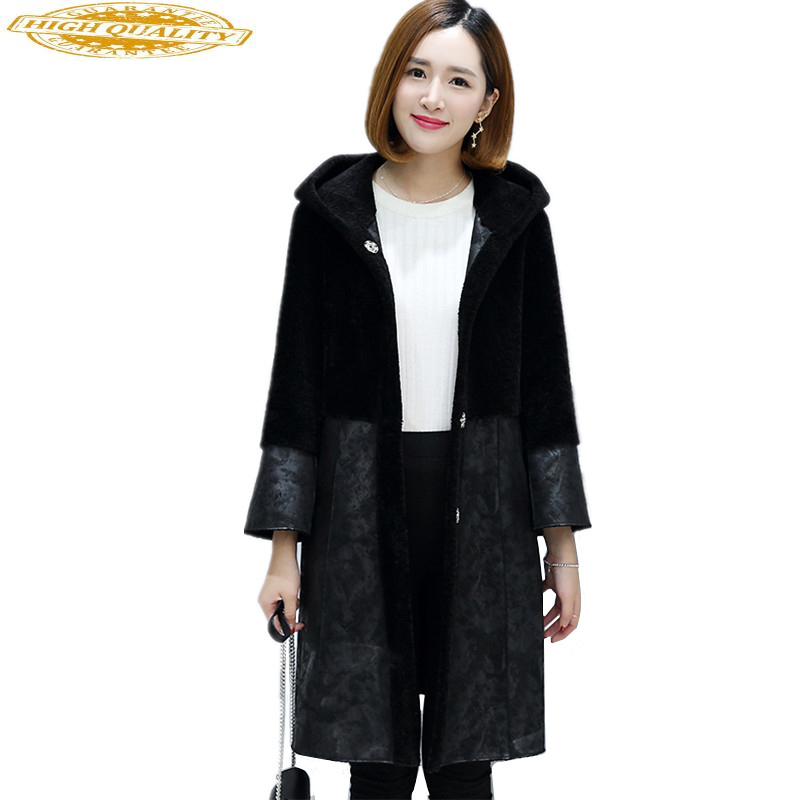 2020 Natural Wool Jackets For Women Sheep Shearing Real Fur Coat Female Winter Suede Jacket Double-sided Outwear OT1780