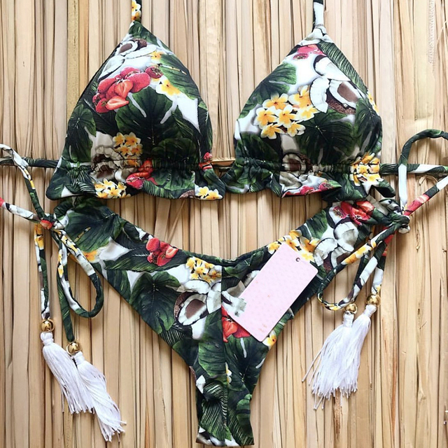 Sexy Bikinis 2019 Swimwear Women Swimsuit Bandage Halter Beach Wear Push Up Bathing suits Female Brazilian Bikini Set