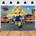 С рисунками из мультфильма «Пожарный Сэм» фон для фотосъемки с изображением мальчиков пожарный двигателя День рождения фон для детской фот...