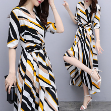 Spring and summer new style Chiffon Striped V-neck Sleeve Dress Fashion temperament waist long dress