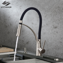 Black LED Kitchen Sink Faucet Swivel Pull Down Kitchen Faucet Sink Tap Mounted Deck Bathroom Mounted Hot and Cold Water Mixer
