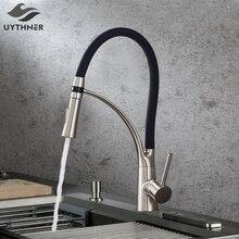 Schwarz LED Küche Waschbecken Wasserhahn Swivel Pull Unten Küche Wasserhahn Waschbecken Wasserhahn Montiert Deck Bad Montiert Heiße und Kalte Wasser mixer