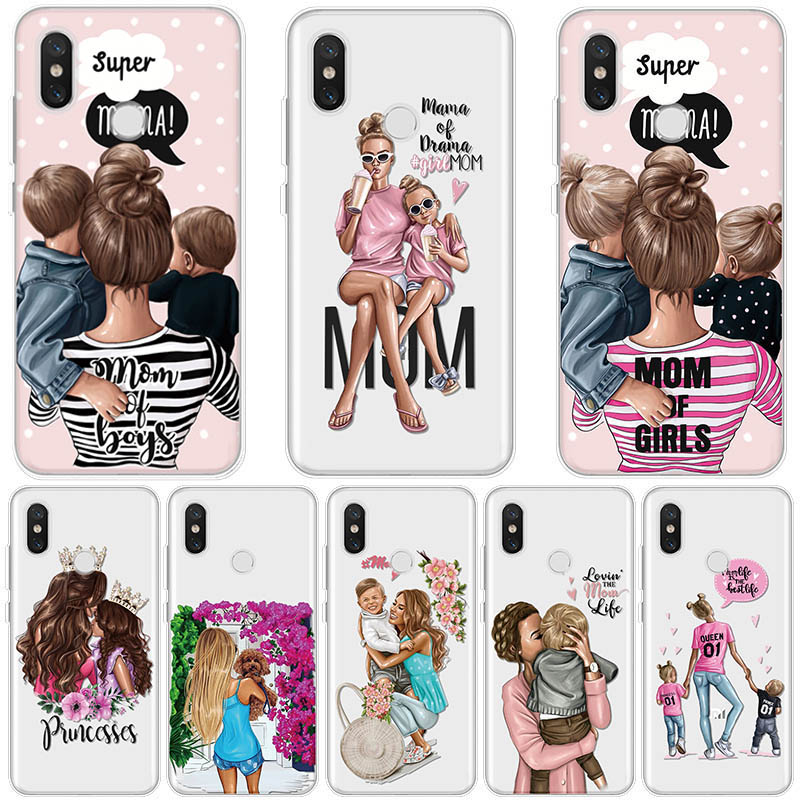 Black Brown Hair Baby Mom Girl Case For Xiaomi Redmi Note 7 8 8T 6 5 Plus Pro S2 7 7A 8 8A 6A 5A TPU For Redmi K30 K20 Pro Case