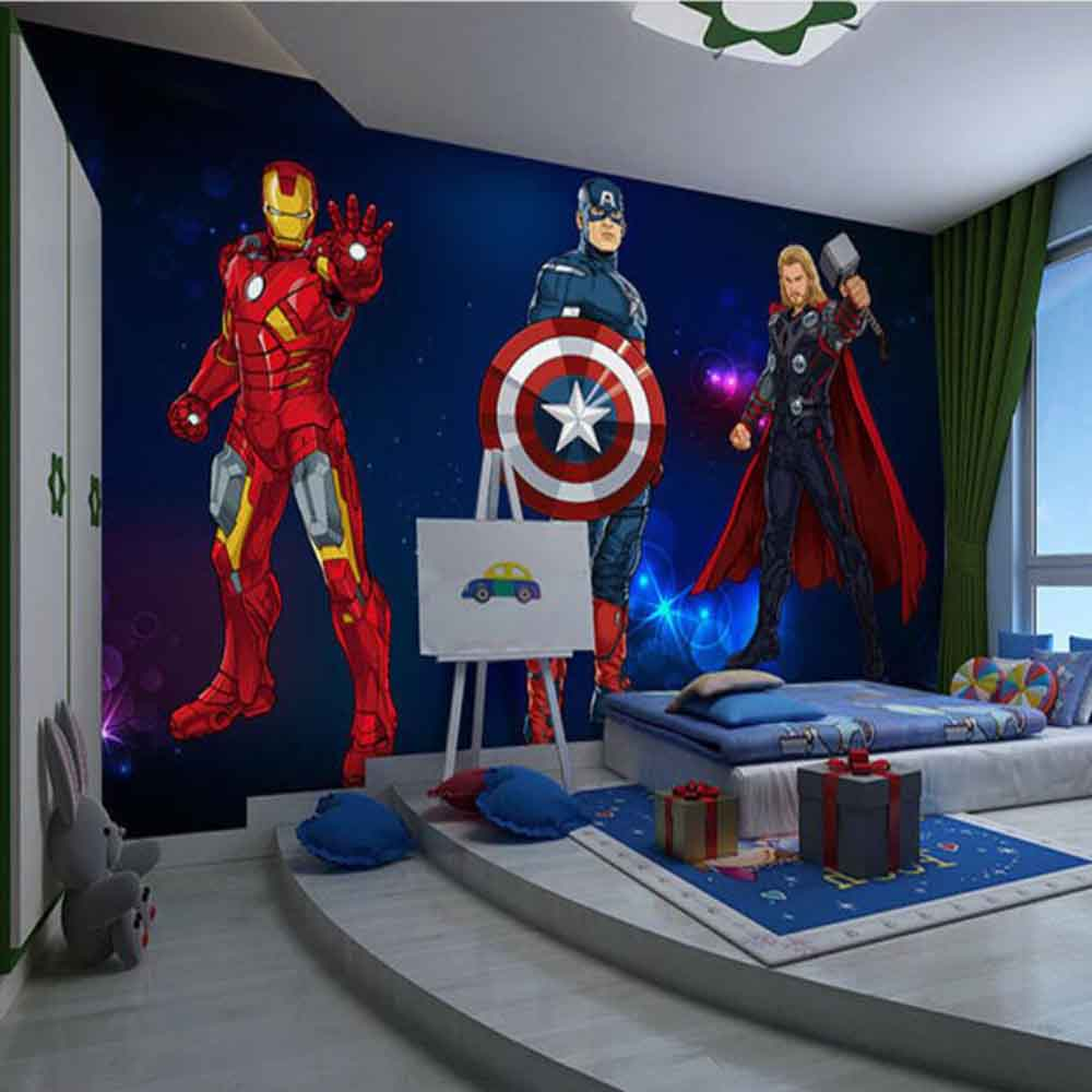 Custom 3D Wallpaper Mural Avengers Wallpaper Sci-Fi Movie Mural Internet Cafe Marvel Hero Captain America Hulk Background Wall