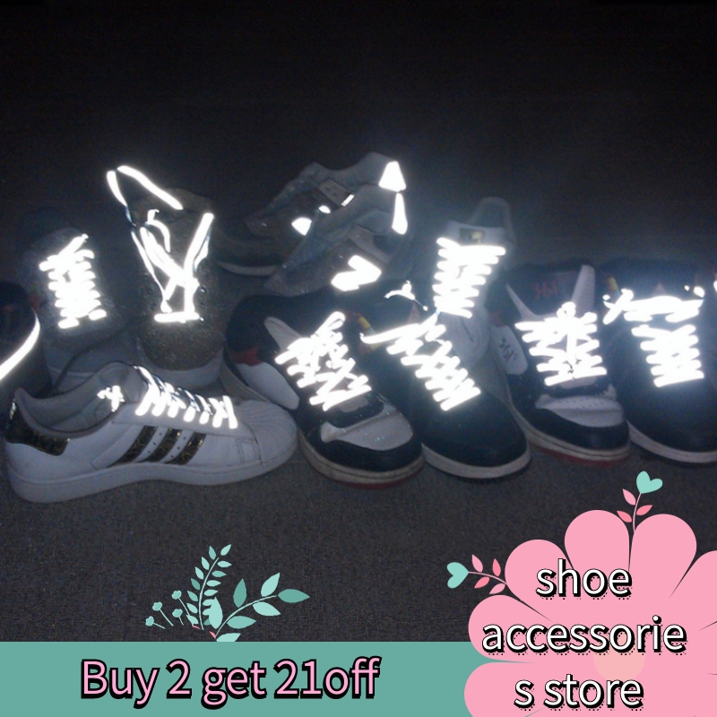 1 Pair <font><b>60</b></font> <font><b>100</b></font> 120cm Flat Reflective Runner Shoe Laces Safety Luminous Glowing Shoelaces Unisex for Sport Basketball Canvas Shoes image