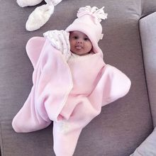 2018 Autumn and Winter Flannel Childrens Sleeping Bag Pink Starfish Baby Soft Comfortable Kawaii